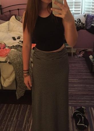 skirt stripes maxi skirt crop tops tank top