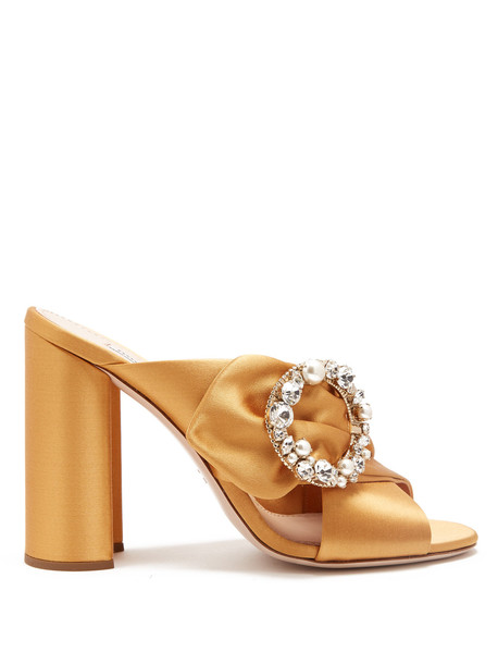 2e8becb3577 MIU MIU Crystal and pearl-embellished satin mules in gold - Wheretoget