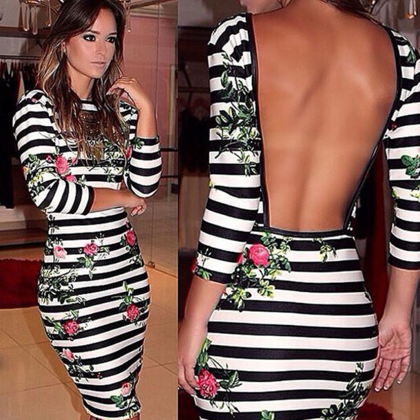 003bc6e9030f dress 2015 new summer dress women dress floral printed dress zebra stripe  dress midi dress backless