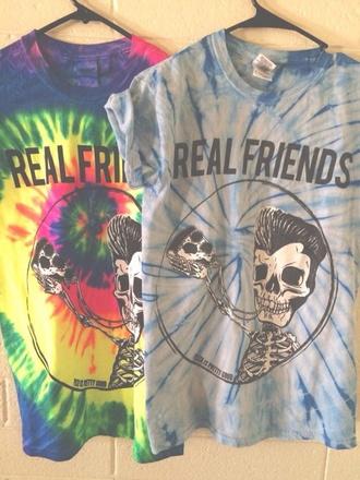 shirt tie dye blue multi coloured real friends pop punk band tie dye shirt