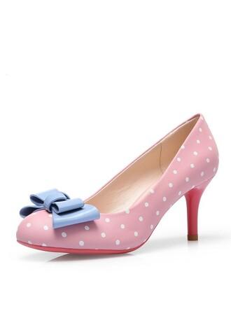 polka dots polka dots shoes cute shoes 50s style 50s shoes vintage shoes women's shoes heel shoes pink shoes