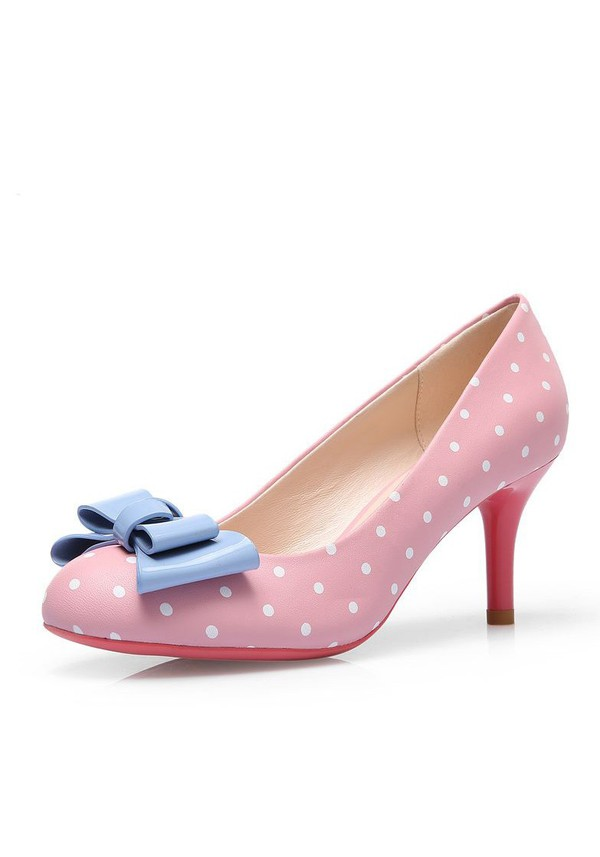 polka dots polka dots polka dots shoes cute shoes 50s style 50s shoes vintage shoes women's shoes heel shoes pink shoes