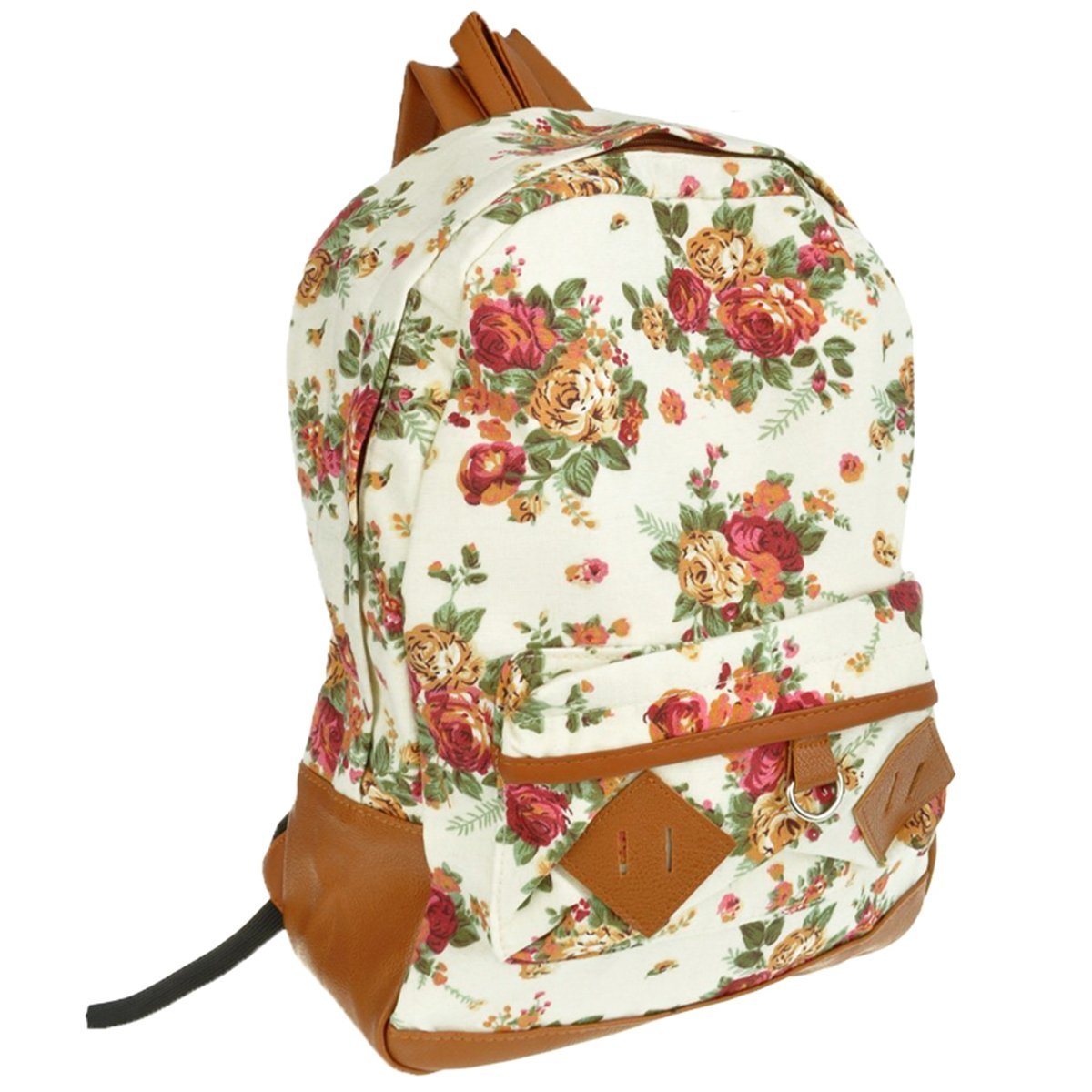 White Canvas Rucksack Vintage Flower Backpack School