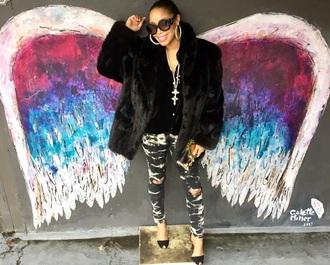 sunglasses prada sunglasses black and white luxury fashion love butterfly street art happy london new york city paris gucci fur prada black jeans gucci shoes gucci handbags fur coat mink fur ootd lookbook acid wash jeans ripped jeans blogger