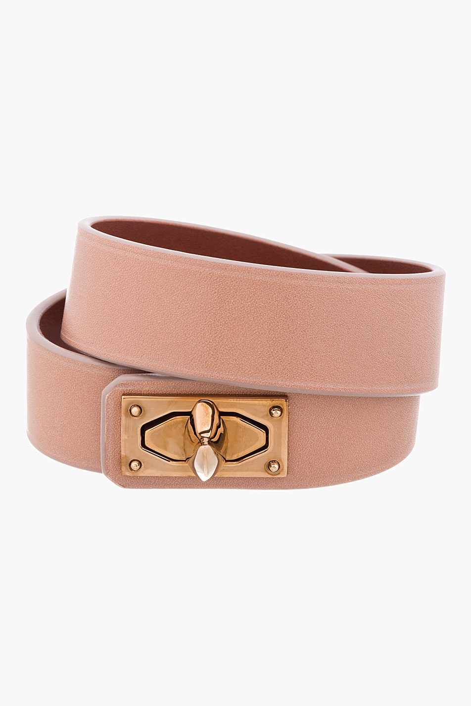 Givenchy Clay Pink Leather Shark Lock Bracelet