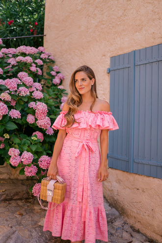 dress vacation outfits basket bag tumblr off the shoulder off the shoulder dress maxi dress pink dress summer dress bag