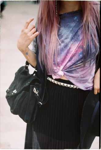 skirt pink outer space print colors purple space galaxy print black t-shirt top