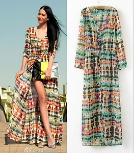 Light Chiffon Tie/Dip Dye Long Cardigan Shirt Blouse Maxi Boho ...