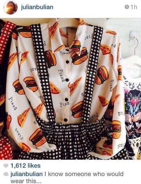 blouse white blouse pizza shirt skirt