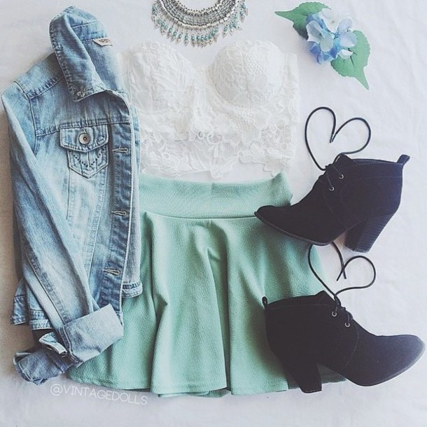 skirt aqua flare skirt jacket top shoes blouse hair accessory