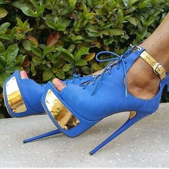 shoes suede high heels blue high heels high heels open toes strapped high heels blue and gold high heels