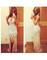 Front split crystal mermaid dress beige nude silver rhinestone chiffon