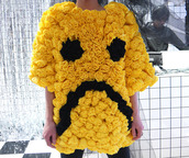 sweater,rose,clothes,yellow,sad smily,black,top
