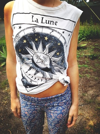 shirt tarot t-shirt tank top la lune sun moon pants indie muscle tee tumblr astrological white tribal pattern indian hipster hippie galaxy print clothes top muscle cute gold strs white top leggings floral printed leggings cool la lune shirt lune luna