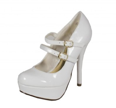 Amazon.com: delicious women's stephy mary jane double strap platform stiletto dress pumps in white patent leatherette: shoes