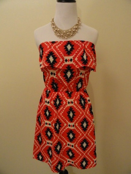 print dress dress lamalu boutique strapless dress tribal print