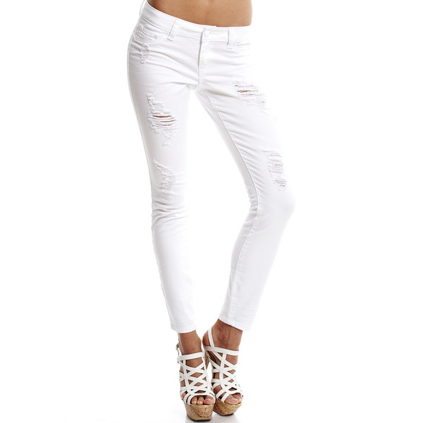 White Ripped Serena Skinny Jean - 2b - Polyvore