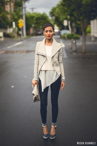 jacket bag micah gianneli shirt shoes jeans cute stylish cream perfecto outfit top bottom white jacket winter outfits white short dress nice heels elegant girl t-shirt blouse coat