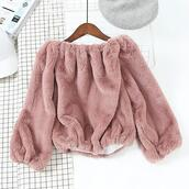 sweater,girly,stuffed animal,pink,jumper,comfy,cute,fur,off the shoulder,off the shoulder sweater