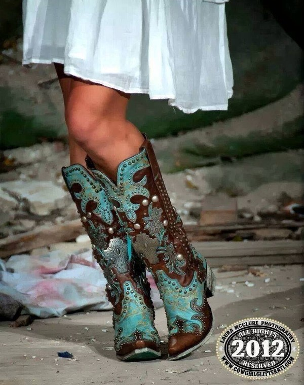 shoes cowgirlboots blue country style country