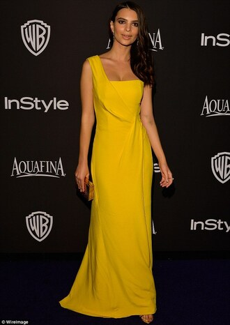 emily ratajkowski golden globes 2015 after party gown yellow dress mustard dress