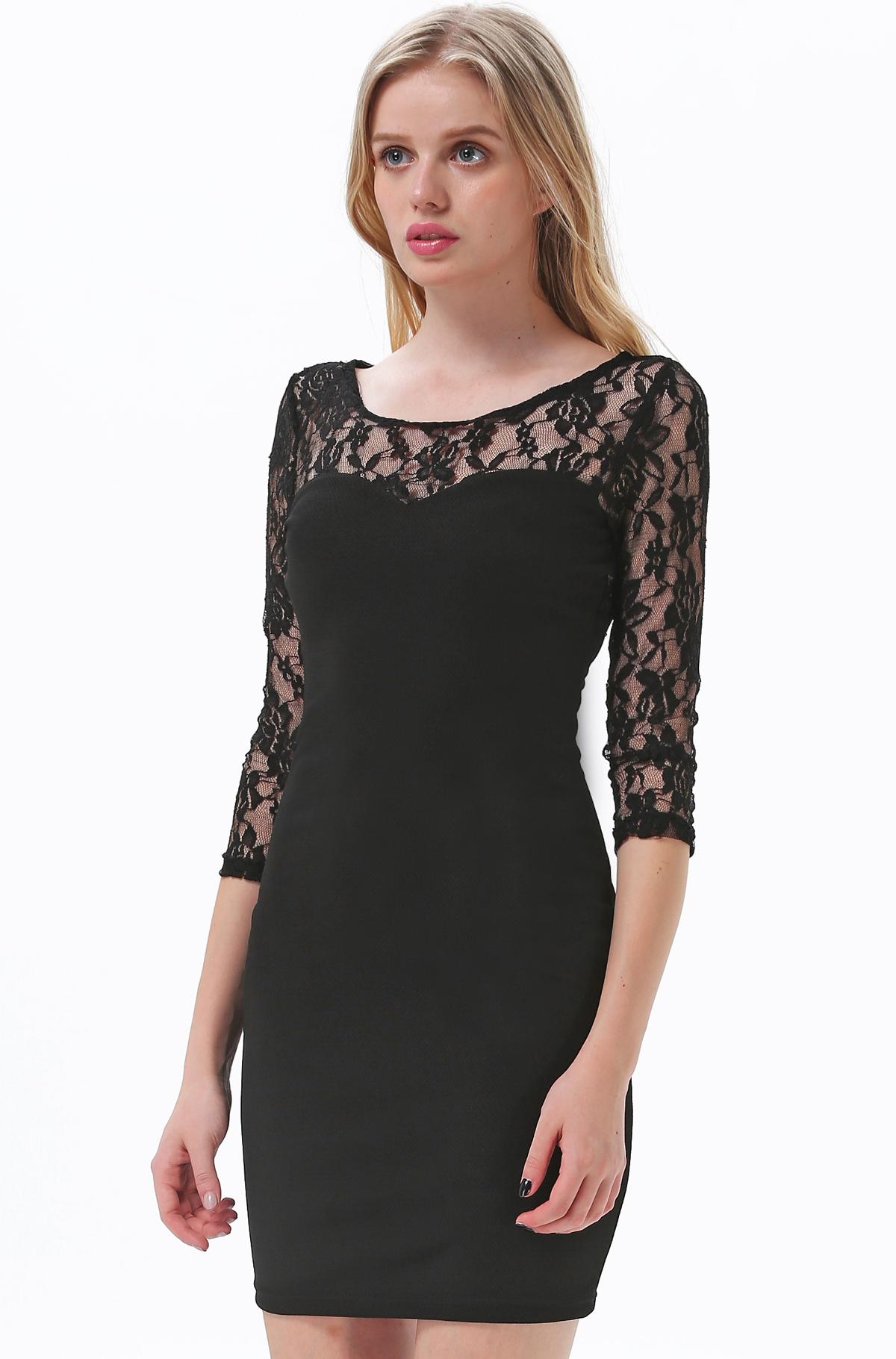 Black Contrast Vampy Lace Bodycon Dress - Sheinside.com