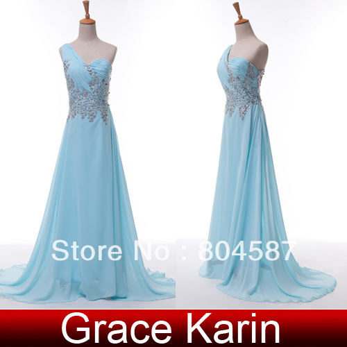 Free Shipping!Charming Grace Karin One shoulder Chiffon Ruffle Bead Ball Gown Evening Prom Wedding Party Dress Light Blue CL4506-in Evening Dresses from Apparel & Accessories on Aliexpress.com