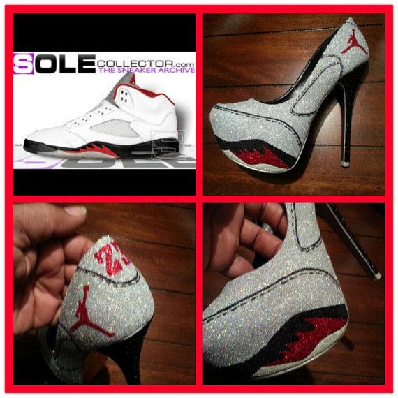 Air Jordan V inspired custom heels by Akkustomz on Etsy