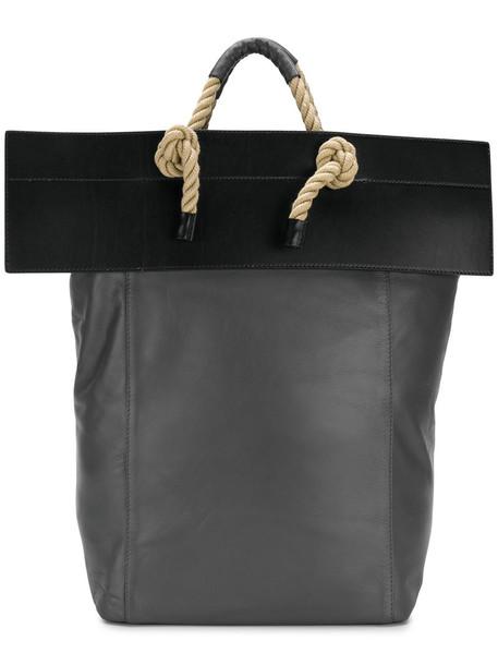 women leather cotton grey bag