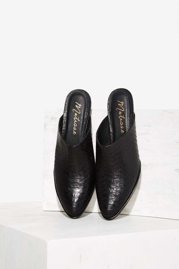 shoes mules black leather