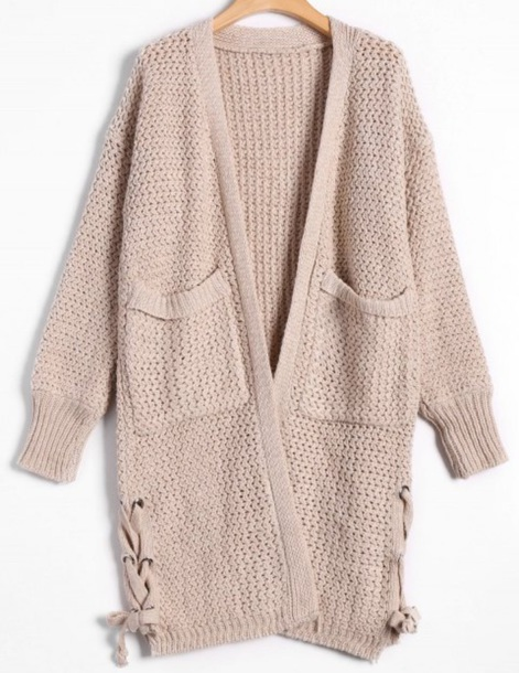 cardigan girly nude knitwear knit knitted cardigan long long cardigan
