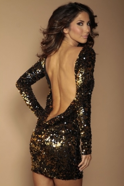 Classic Backless Dress Black/gold flip Sequins