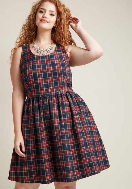 MCD1446 dress printed dress lovely princess fit plaid black pattern red