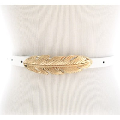 White skinny waist belt with gold feather belt buckle