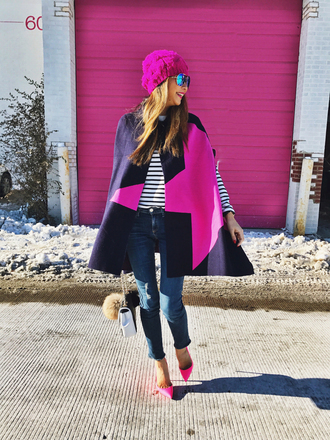 redsolesandredwine blogger hat top shoes sunglasses beanie winter outfits cape pink heels high heel pumps