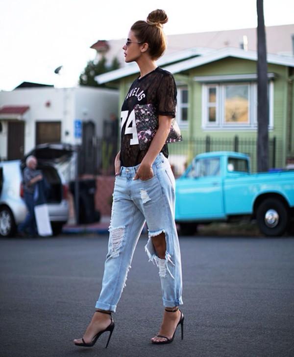 jeans heels blouse ripped jeans boyfriend jeans bag