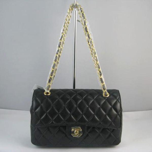 bag black bag gold chanel
