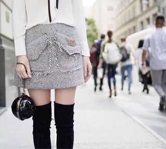 skirt tumblr grey skirt mini skirt wool over the knee boots over the knee black boots bag black bag fall skirt chanel office outfits
