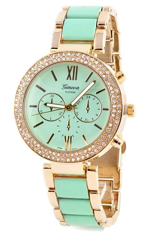 Two Tone Metal Band Gold Tone Case Rhinestone Around Face Geneva Fashion Watch | eBay