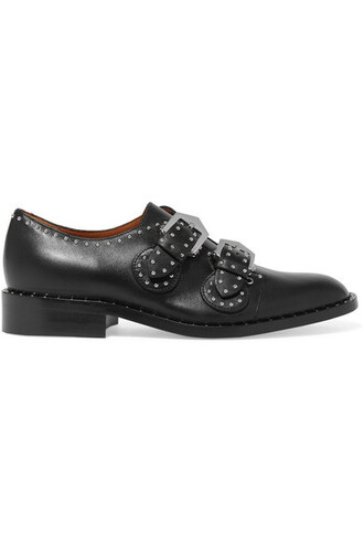 studded leather black black leather shoes