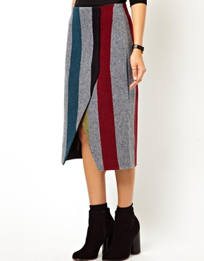 ASOS | ASOS Pencil Skirt with Wrap in Stripe at ASOS