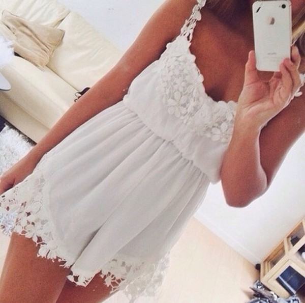 dress white lace white dress jumpsuit white dress flowers romper inspiration style summer dress sheer girly mini short decorated