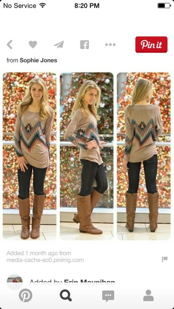 sweater tribal pattern jeans