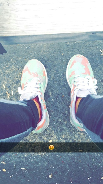 shoes adidas colorful tumblr floral green pink