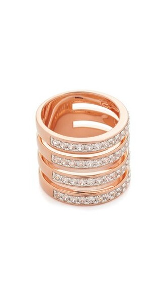 rose gold rose ring gold white jewels