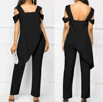 jumpsuit black help me out cute fashion trendy