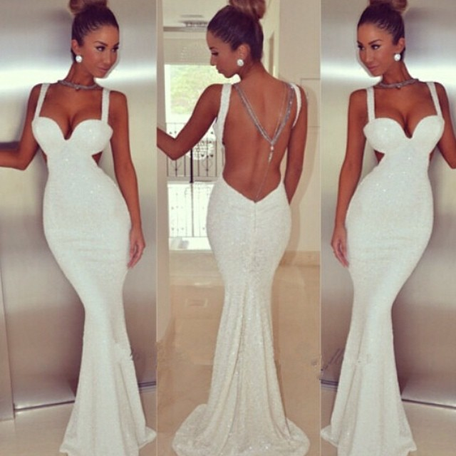 Sweetheart White Sequins Mermaid Gowns