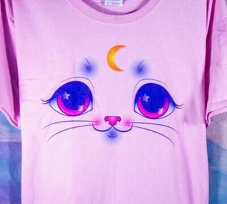 cats cat eye kawaii pink moon
