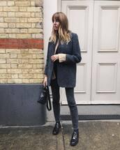 jeans,grey jeans,coat,wool coat,shoes,handbag,shirt