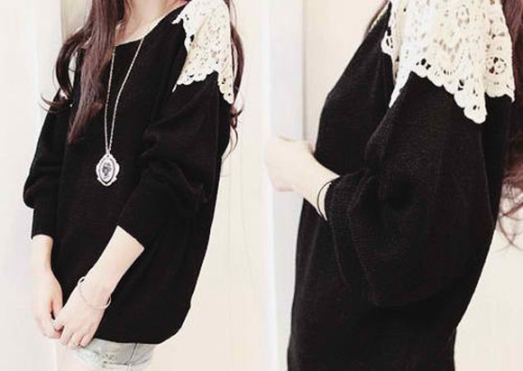 sweater laine black &white dentelle cute chaud